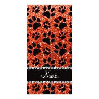 Custom name neon orange glitter black dog paws customised photo card