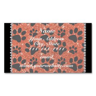 Custom name neon orange glitter black dog paws magnetic business cards