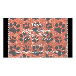 Custom name neon orange glitter black dog paws pack of standard business cards