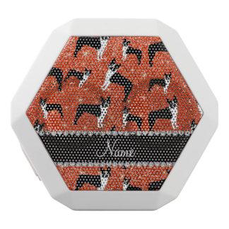 Custom name neon orange glitter boston terrier white boombot rex bluetooth speaker