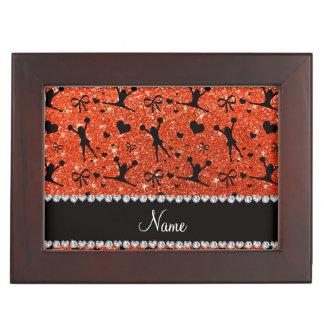Custom name neon orange glitter cheerleading keepsake box