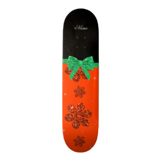 Custom name neon orange glitter flowers green bow 20 cm skateboard deck
