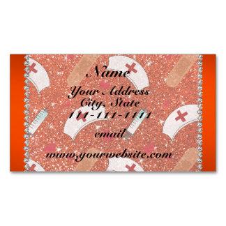 Custom name neon orange glitter nurse hats heart magnetic business cards