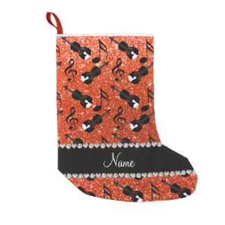 Custom name neon orange glitter violins music not small christmas stocking