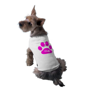 Custom name Neon Pink and White Dog Paw Sleeveless Dog Shirt