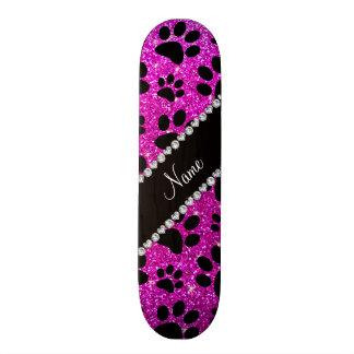Custom name neon pink glitter black dog paws custom skateboard