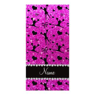 Custom name neon pink glitter cheerleading photo cards
