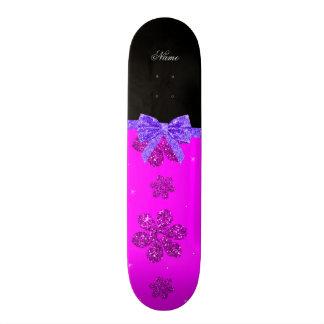 Custom name neon pink glitter flowers purple bow 18.1 cm old school skateboard deck