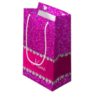 Custom name neon pink glitter hot pink stripe small gift bag