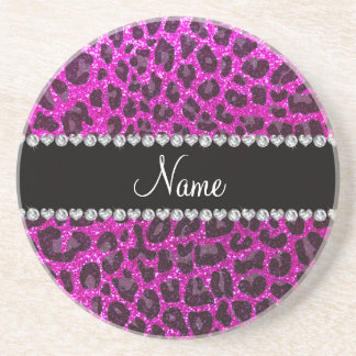 Custom name neon pink glitter leopard print coasters