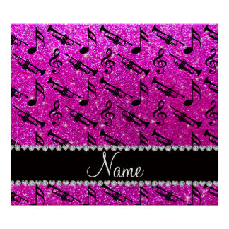 Custom name neon pink glitter trumpets music notes posters