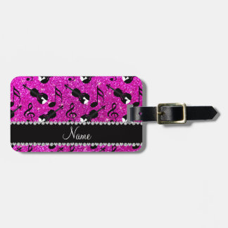 Custom name neon pink glitter violins music notes luggage tag