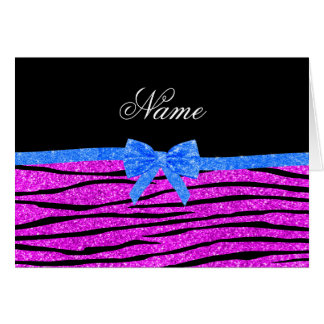 Custom name neon pink glitter zebra stripes bow cards