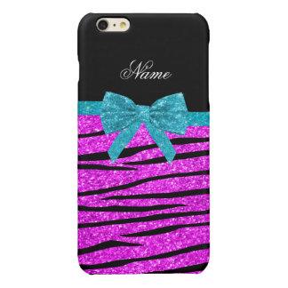 Custom name neon pink glitter zebra stripes bow iPhone 6 plus case