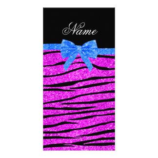 Custom name neon pink glitter zebra stripes bow customized photo card