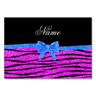 Custom name neon pink glitter zebra stripes bow table cards