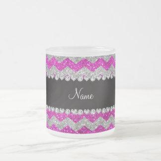 Custom name neon pink silver glitter chevrons coffee mugs