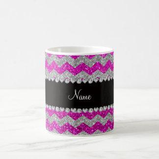 Custom name neon pink silver glitter chevrons mug