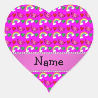 Custom name neon pink watermelons hearts rainbows heart sticker