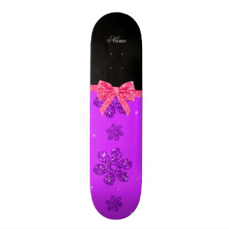 Custom name neon purple glitter flowers pink bow skate boards