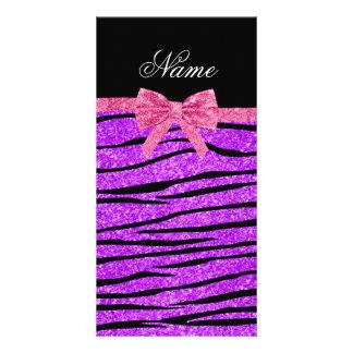 Custom name neon purple glitter zebra stripes bow photo card