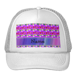 Custom name neon purple watermelons hearts rainbow trucker hat