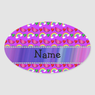 Custom name neon purple watermelons hearts rainbow oval sticker
