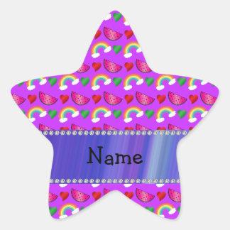 Custom name neon purple watermelons hearts rainbow star sticker