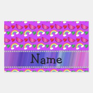 Custom name neon purple watermelons hearts rainbow rectangular sticker