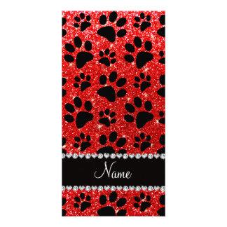 Custom name neon red glitter black dog paws photo greeting card