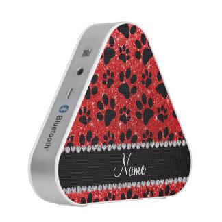 Custom name neon red glitter black dog paws bluetooth speaker
