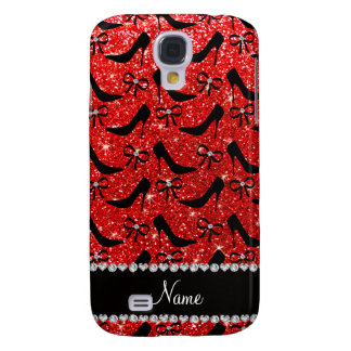 Custom name neon red glitter black high heels bow galaxy s4 covers
