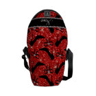 Custom name neon red glitter black high heels bow courier bag