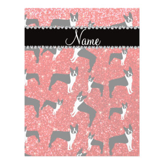Custom name neon red glitter boston terrier flyer