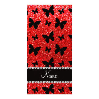 Custom name neon red glitter butterflies picture card