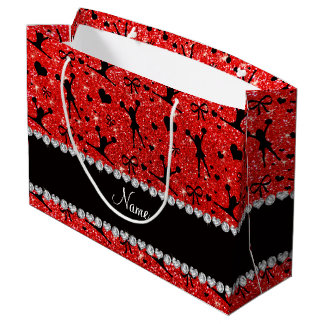 Custom name neon red glitter cheerleading large gift bag