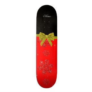 Custom name neon red glitter flowers gold bow skateboards