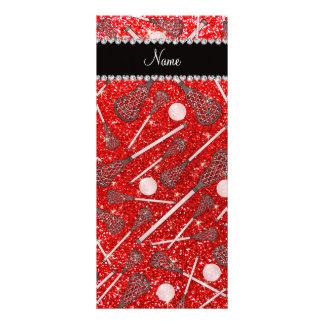 Custom name neon red glitter lacrosse sticks full color rack card