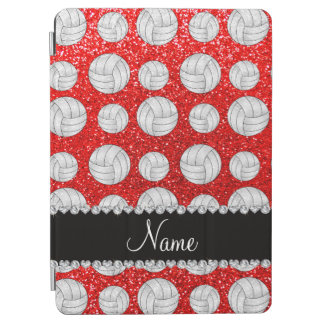 Custom name neon red glitter volleyballs iPad air cover