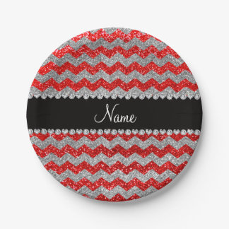 Custom name neon red silver glitter chevrons paper plate