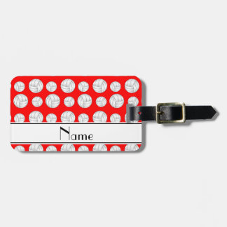 Custom name neon red volleyballs bag tag