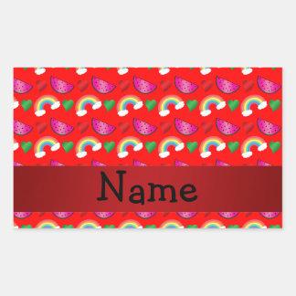 Custom name neon red watermelons rainbows rectangular sticker