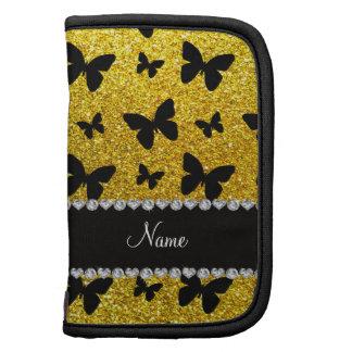 Custom name neon yellow glitter butterflies organizer