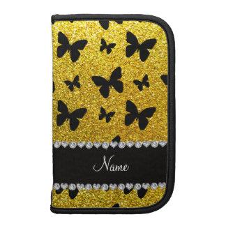 Custom name neon yellow glitter butterflies folio planners