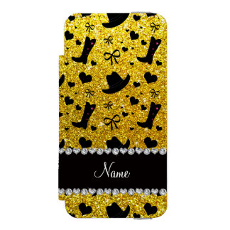 Custom name neon yellow glitter cowboy boots hats incipio watson™ iPhone 5 wallet case