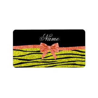 Custom name neon yellow glitter zebra stripes bow address label