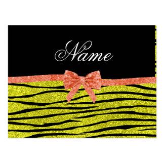 Custom name neon yellow glitter zebra stripes bow postcard
