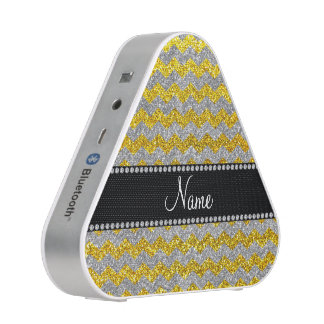 Custom name neon yellow silver glitter chevrons