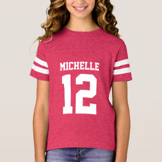 Custom Name Number Girls Sport Jersey T-Shirt