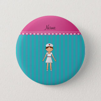 Custom name nurse turquoise stripes pink stripe 6 cm round badge